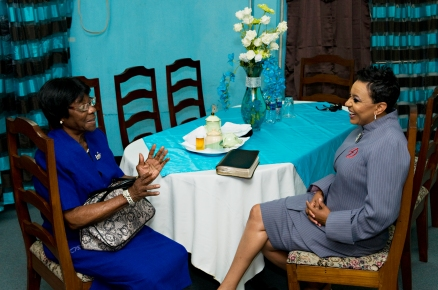 chatting with Mrs. Didier, who took me to the upper room to pray about receiving my visa to the U.S. after being denied six times