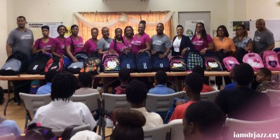 mission team at school supplies giveaway